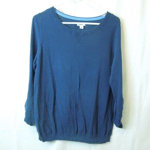 Soft Cotton 3/4 Sleeves Ruched Pullover Sweater